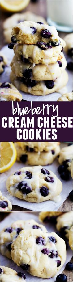 Blueberry Cream Cheese Cookies with a Lemon Glaze ~ Perfect moist and puffy cookies with fresh blueberries bursting inside. These cookies are a mix between a blueberry muffin and a soft and chewy cookie. Blueberry Cheesecake Cookies, Blueberry Cream Cheese Muffins, Cookies With Cream Cheese, Deserts With Cream Cheese, Lemon Cream Cheese Bars, Recipes With Cream Cheese, Moist Blueberry Muffins, Cream Cheese Brownies, Cream Cheese Glaze