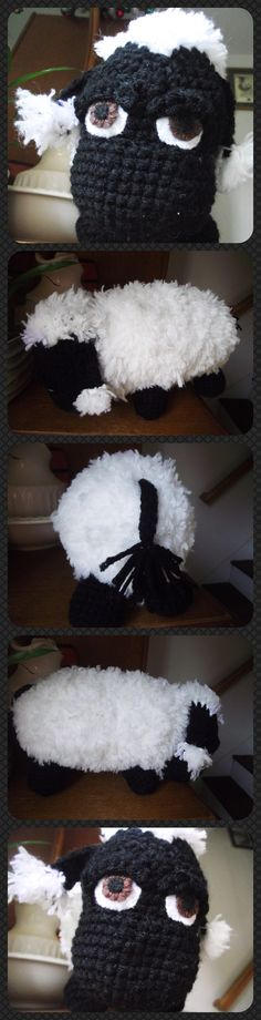 Sheep, felt eyes  12 inches from nose to tail. acrylic yarn. Sold.
