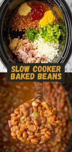 Baked Beans Crock Pot, Slow Cooker Baked Beans, Bbq Baked Beans, Bbq Beans, Crock Pot Slow Cooker, Healthy Baked Beans, Side Dishes For Bbq, Side Dish Recipes, Sides For Bbq