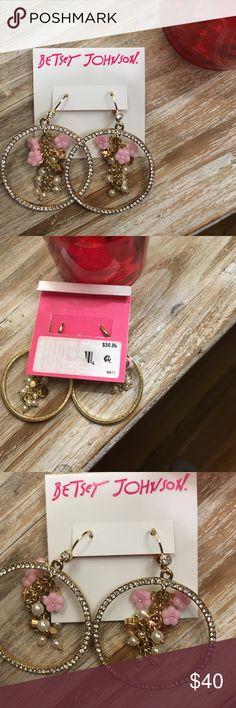 NWT, Betsey Johnson MARIE ANTOINETTE Earrings Brand new with tags never worn. MARIE ANTOINETTE Multi flower Gypsy Hoop Earrings . Gold tone costume jewelry. 100% authentic. Length of earrings 2.5 Betsey Johnson Jewelry Earrings