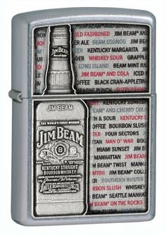 Zippo Jim Beam Emblem Street Chrome Lighter (Silver, 5 1/2 x 3 1/2-cm) by Zippo. $25.55. Jim Beam Emblem on Street Chrome. Intended for adults of legal purchase age of alcoholic beverages. Brand new authentic Zippo lighter in original packaging with warranty  Size: 35mm x 55mm x 10mm Fill only with Zippo premium lighter fluid. Warranty: life-time Zippo warranty. Save 49%!