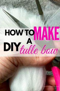 How to make an Easy DIY Tulle Bow to use for weddings, gift packages, or decor. Step by step instructions. Tutu Centerpieces, Tulle Decorations, Ceremony Decorations, Tulle Hair Bows, Diy Hair Bows, Diy Bow, Diy Ribbon, Ribbon Bows, Ribbons