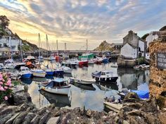 The stunning Cornish fishing village of Polperro where on a long ago holiday my tent was swept away in a flood