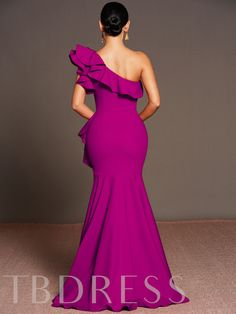 Purple Falbala One Shoulder Women's Maxi Dress Evening Gowns With Sleeves, Evening Dresses, Stylish Gown, Lace Dress Styles, Latest African Fashion Dresses, Wedding Dress Accessories, Beautiful Prom Dresses, Gowns Of Elegance, Luxury Dress