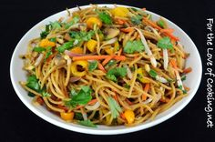 Vegetable Lo Mein (spaghetti, sesame oil, hoisin, soy sauce, mushrooms, carrots, bell ppr, red onion, scallions, bean sprouts, ginger, garlic, cilantro)