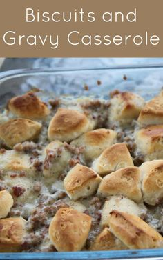 For Lew---Biscuits and Gravy Breakfast Casserole Recipe - easy and delicious! The gravy soaks into the biscuits for just plain YUM! What's For Breakfast, Breakfast Dishes, Morning Breakfast, Easy Breakfast Casserole Recipes, Vegetarian Casserole, Cauliflower Casserole, Pasta Casserole, Zuchinni Casserole, Runza Casserole