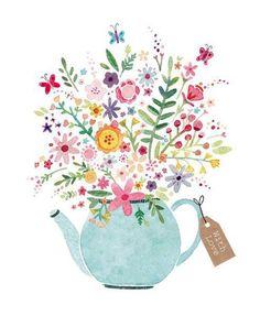 Imagen de flowers, teapot, and art