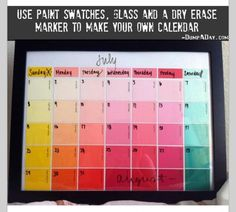 DIY Calendar for use with dry erase.- I would only do this for a Week-at-a-glance calendar. We need to plan months ahead of time but outlining a week at a time us helpful.