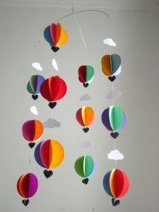 """Hot Air Balloon Baby Mobile """"Bright Spark"""" - Bright Nursery Decor - Crib Mobile - Baby Shower Gift - New Baby - Gender Neutral Baby Gift Mobil Origami, Origami Mobile, Balloon Clouds, Air Balloon, Balloons, Bright Nursery, Baby Nursery Decor, Decoration Creche, Baby Room Paintings"""
