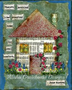 There's Nothing Like Staying Home for Real Comfort, Jane Austen Quote - Mixed Media Collage Art Print  - (8x10)