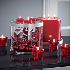 """Crimson Christmas"" 3-In-1 Elevated Candle Holder by #PartyLite - Click for more decorating ideas"