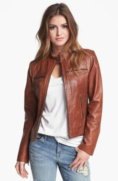 Bernardo Tab Collar Leather Jacket (Regular & Petite) (Nordstrom Exclusive) available at #Nordstrom