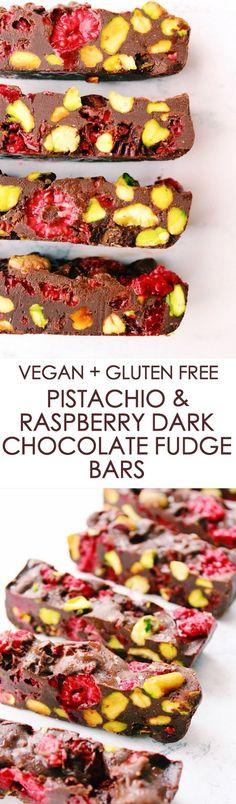 Vegan and gluten free treats - Toasted Pistachio + Rasbperry Dark Chocolate Fudge Bars Dairy Free Fudge, Dairy Free Recipes, Raw Food Recipes, Cooking Recipes, Gluten Free, Paleo Dessert, Dessert For Dinner, Vegan Sweets, Healthy Sweets