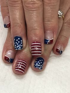 of July Glitter Stars & Stripes Gel Nails Patriotic Nails, Glitter Stars, Fashion Hub, Gel Nail Designs, Claws, Gel Nails, 4th Of July, Stripes, Polish