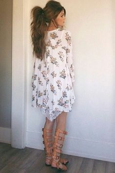 floral and gladiator sandals