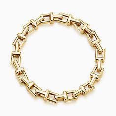 Pulseira Tiffany T Chain em ouro 18k, média.