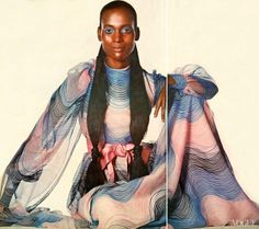 """Naomi Sims  """"Enjoy being a swirl..."""" Photographed by Irving Penn, Vogue, May 1970"""