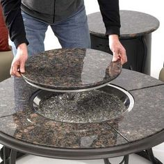 Amazon.com: Fire Pit Table with Granite Top and Lazy Susan: Patio, Lawn & Garden