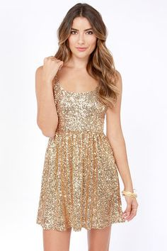 Cutest holiday dress ever. Give Me a Glint Gold Sequin Dress at LuLus.com!