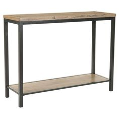 Elm wood console table with a bottom shelf.Product: Console tableConstruction Material: Solid elm wood and metal