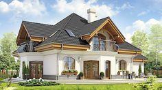 Projekt domu Dzierlatka III styl z garażem 2-st. [A] 186,80 m² - koszt budowy - EXTRADOM Home Building Design, Home Design Plans, Building A House, Small House Design, Modern House Design, House Plans Mansion, Beautiful House Plans, Rustic Home Design, Home Fashion