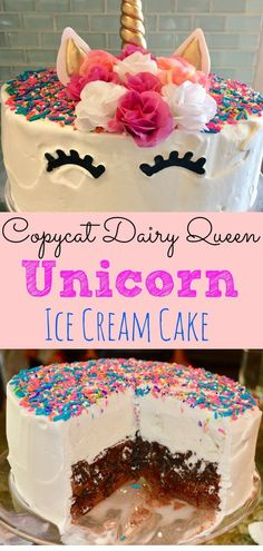 Looking for a delicious version of the Dairy Queen Ice Cream Cake that tastes just as good, if not better? Don't miss this incredibly simple recipe and make your own Dairy Queen Unicorn Ice Cream Cake today! #unicorn #icecreamcake #copycat #thisdelicioushouse #unicorncake