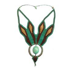 Cleopatra Turquoise cabochon handmade macrame necklace