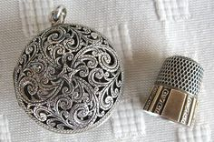 Sterling silver chatelaine thimble holder etui & Simons sterling silver thimble