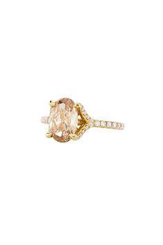 Irina Ferry Champagne Oval Diamond Engagement Ring in Rose Gold, $18,500; sohogem.com   - ELLE.com
