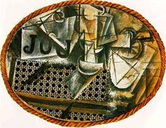 Natura morta con sedia impagliata, Pablo Picasso, 1912, collage di pittura a olio, tela cerata, carta e corda su tela, Museée National Picasso, Parigi