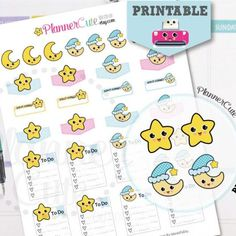 Printable Weather Stickers, Printable Moon and star Stickers, Kawaii  Weather Planner Stickers, Erin Condren, Kawaii Planner Stickers K001