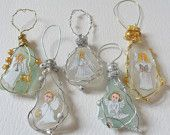 Christmas Angels - Hand painted sea glass Christmas tree decorations - Set of 5