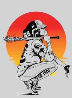2 Suns by Gerrel Saunders (Chaguanas Trinidad and Tobago) Art And Illustration, Character Illustration, Dope Kunst, Art Sketches, Art Drawings, Cyberpunk Kunst, Art Et Design, Dope Art, Aesthetic Art