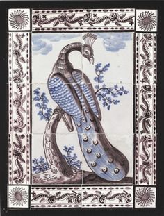 A DUTCH DELFT TILE PICTURE OF A PEACOCK  http://www.christies.com