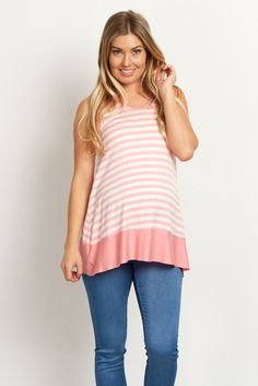 Who says you can't look cute and feel comfortable? Well with this maternity top, now you can have the best of chic style and casual comfort. A tank top with a classic striped print you can wear all season long to keep cool. Pair it with maternity shorts and booties for a complete look.