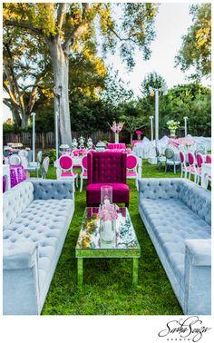 Leah's Super Chic Bat Mitzvah » Sparkliatti.  club event lounge seating & pink, white & silver decor.  Image by @Damion Hamilton-Photographer