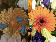 """Orange Germini - """"These daisy like blooms were chosen to mimic the Calendula visible in this and many other of Bosschaert's paintings. They add a vivid block of colour to the arrangement which complements the other hot tones in the bouquet."""" – Prestige Flowers #NGArtBouquet #Bouquet #Florist #Flowers #Art"""