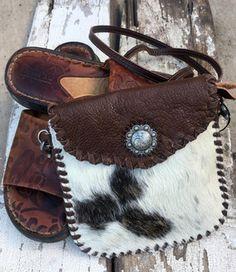 New Small Brown Hair on Hide Crossbody Handbag $42