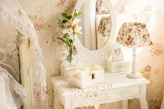 table with mirror and flowers in provence style