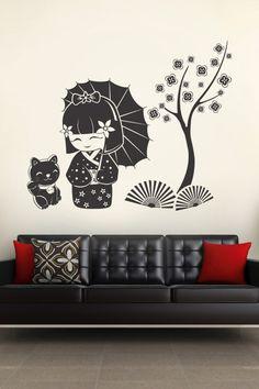 Kokeshi & Cat wall decal by WALLTAT.com