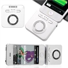 Mini Type 2-in-1 1900mAh External Battery Charger with Speaker & Stand for iPhone iPod (White)