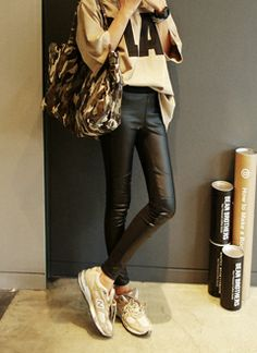 love this street style letter T with leather leggings # korean fashion# street style# kpop # asian girls style ♥ GG's Tiny Times ♥