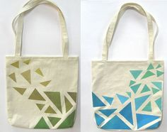 Hand Painted Tote Bag Eco Friendly / Reusable Shopping Bag / Grocery Bag Triangles Olive Green Mustard Blue Aqua Teal Mint Green