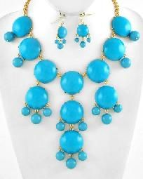 Chunky Gold Tone Turquoise Bubble Bauble Cluster Statement Necklace Earring Set