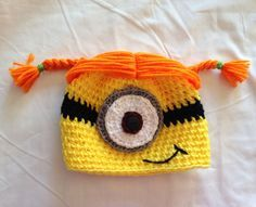 Pink girl minion character hat earflap or beanie child size via girl minion crochet hat pattern free google search dt1010fo