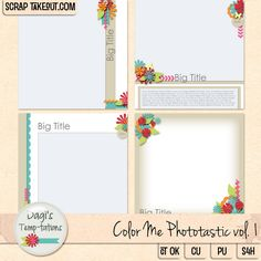 A set of 4 layered big photo templates, 12x12, 300 dpi.  Includes .psd, .png, .tiff and .page files.  PU/CU/S4H/S4O/CT friendly