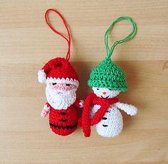 Free Amigurumi Santa & Snowman Ornaments Pattern