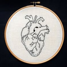 Hand Embroidery. Anatomical Heart. 7 inch Hoop by FrecklesFelts