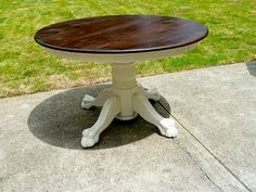 Refinish the kitchen table, maybe w/a black base instead of white?
