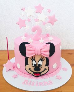 Charm this cake as Minnie Rosa theme! - - Charm this cake as Minnie Rosa theme! Bolo Minnie, Minnie Cake, Mickey Cakes, Mini Mouse Birthday Cake, Minnie Birthday, Birthday Cake Girls, 2nd Birthday, Minni Mouse Cake, Minnie Mouse Cookies